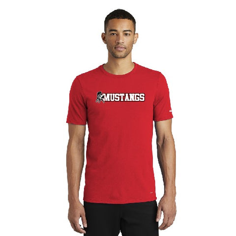 Mustangs Nike Mens Dri-fit Tee Red