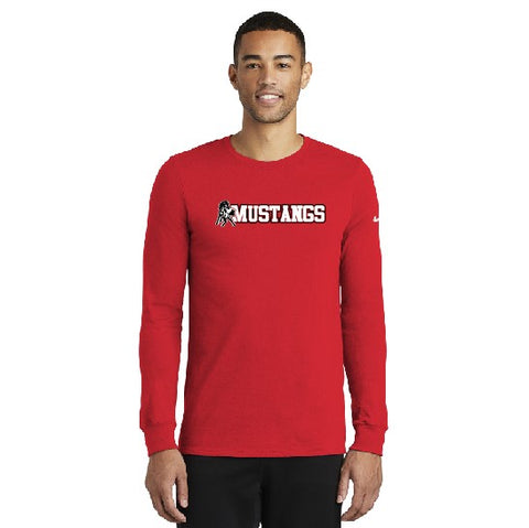 Mustangs Nike Dri-fit Long Sleeve Tee Red