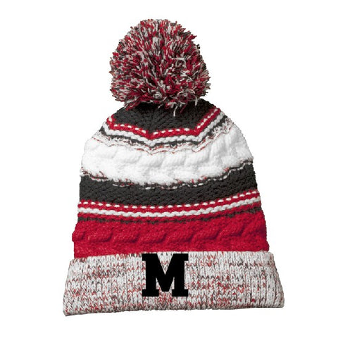 Embroidered M Striped Pom Pom Beanie