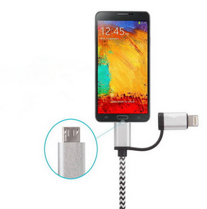 2 in 1 Nylon Charger Cable, Iphone and Android