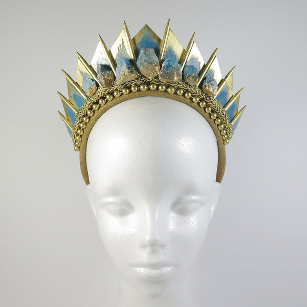 Blue Apatite Gold Blade Crown