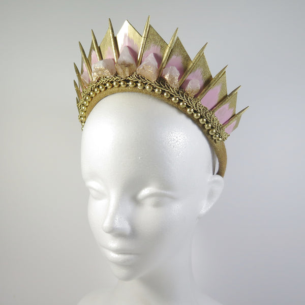 Rose Quartz Gold Blade Crown