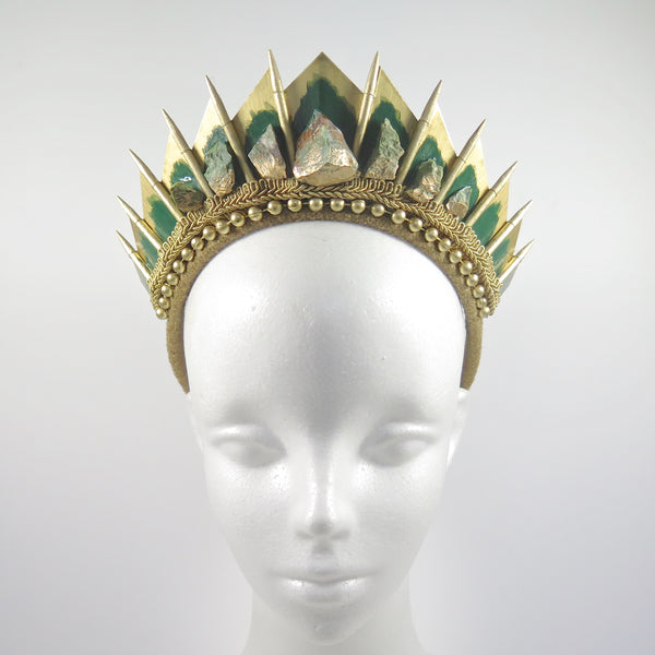 Chrysoprase Gold Blade Crown