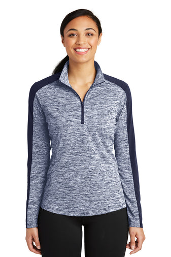 Ladies' Sport-Tek Electric Heather Colorblock 1/4-Zip Pullover