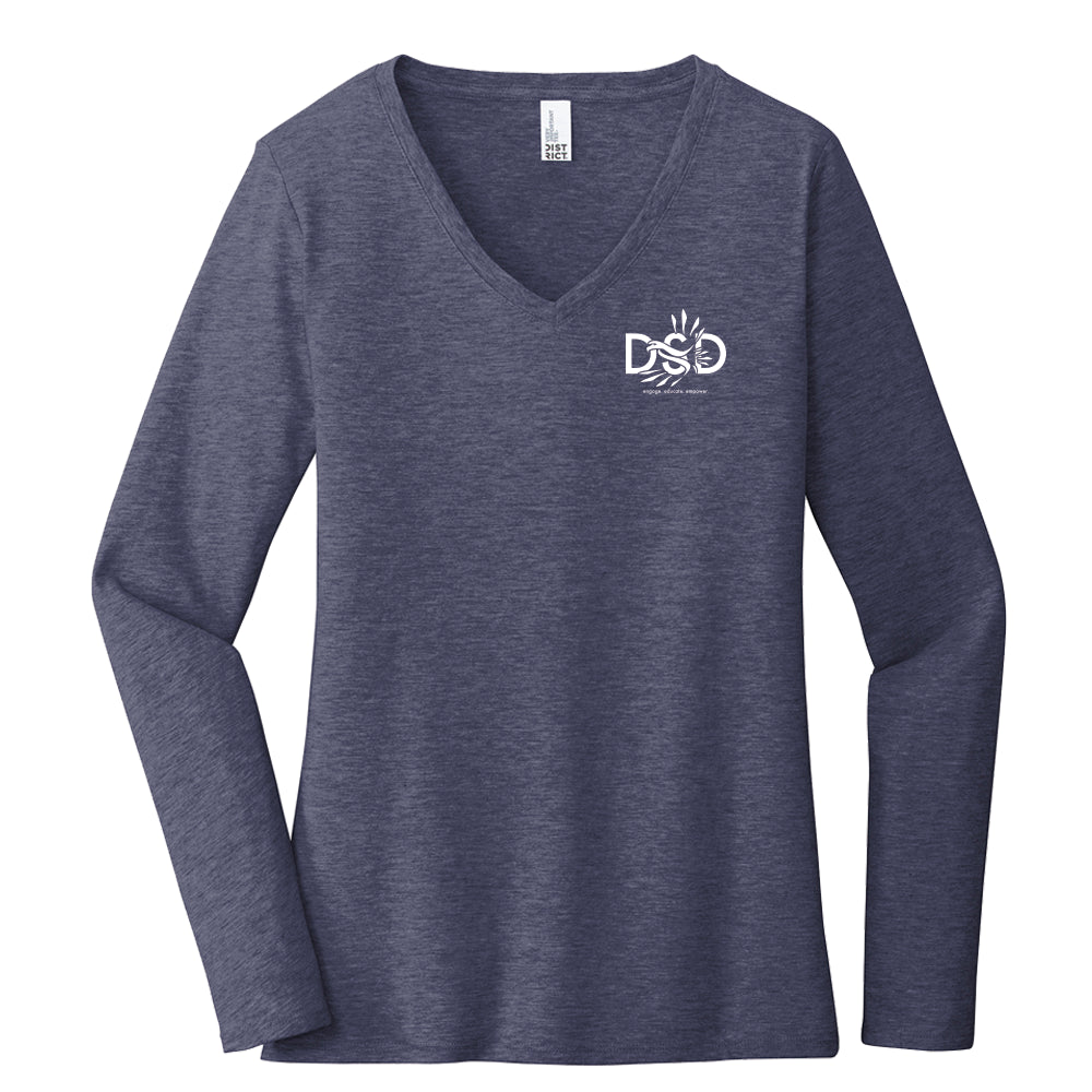 DSD - Ladies' V-Neck Long Sleeve Shirt (DSD Logo) (Old School Design - Back Shirt Optional)