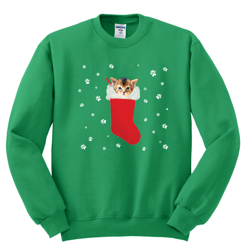Abyssinian in a Christmas stocking Sweatshirt