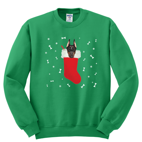 Doberman in a Christmas stocking Sweatshirt