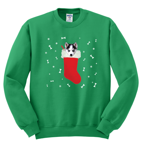 Husky in a Christmas stocking Sweatshirt