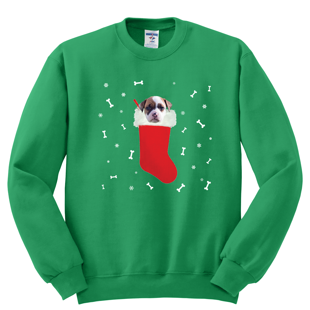 Pitbull in a Christmas stocking Sweatshirt