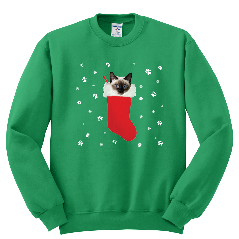 Siamese in a Christmas stocking Sweatshirt