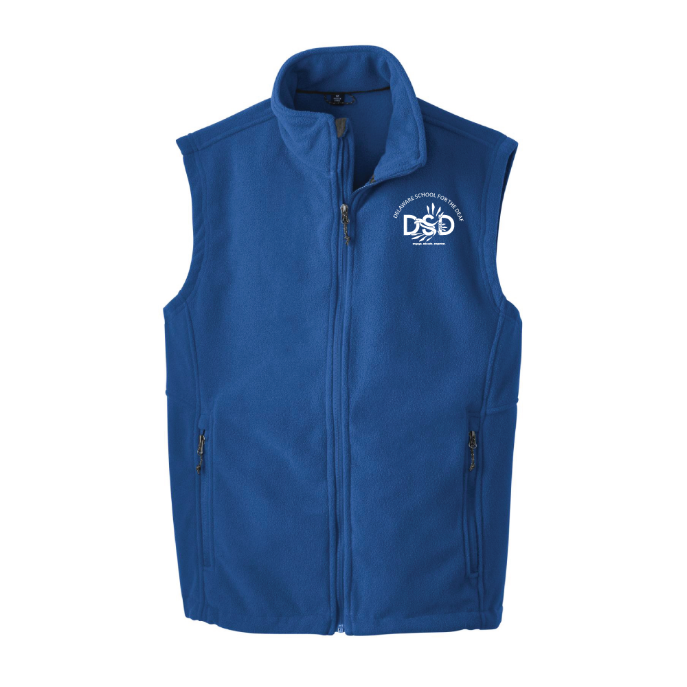 DSD - Men's Fleece Vest (Delaware School for the Deaf Logo)