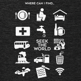 "Seek the World - ""Where Can I Find..."" Travel Icons Shirt"