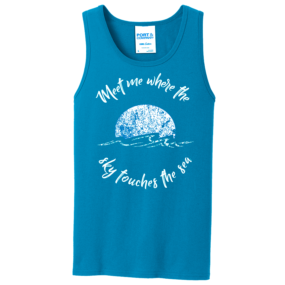 """Meet me where the sky meets the sea"" Sun Tank Top"