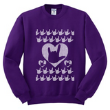 "Ugly Sweater - ""ILY"" (in ASL) with Hearts Sweatshirt"