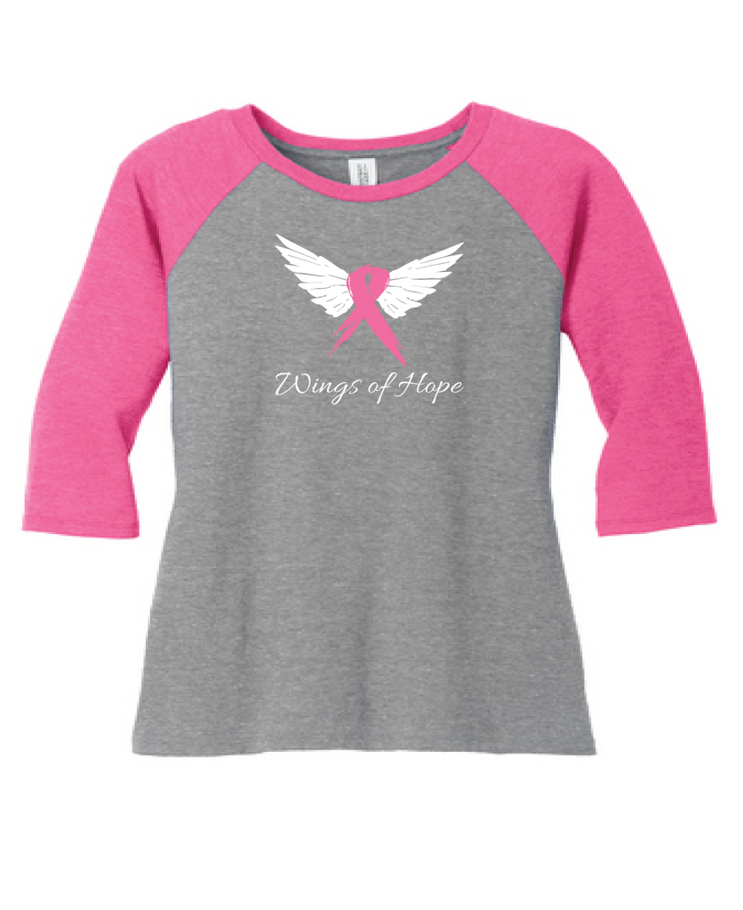 """Wings of Hope"" Tri-Blend 3/4-Sleeve Raglan"