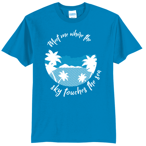 """Meet me where the sky touches the sea"" Palm Tree Shirt"