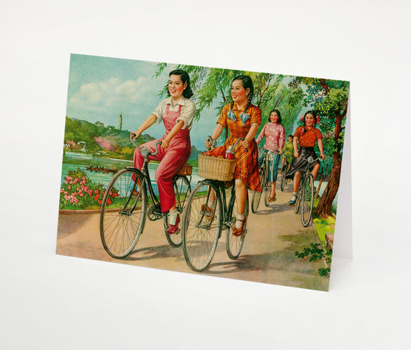 Cyclists at West Lake Notecard | Red Type Ink