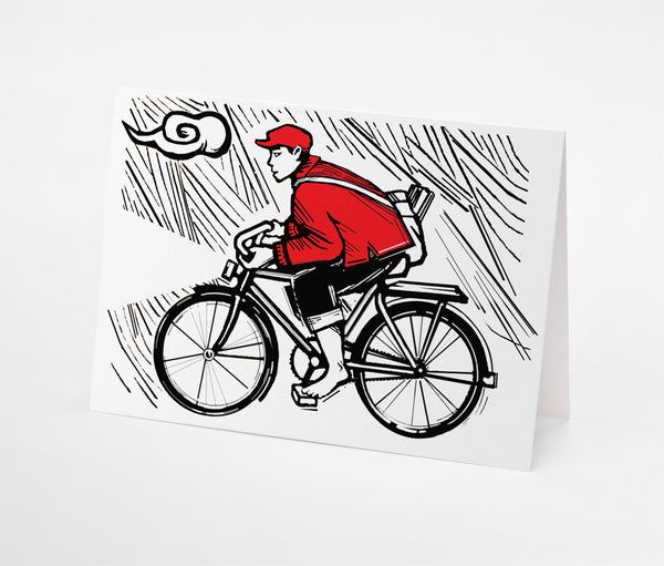 Cloud and Bike Notecard | Red Type Ink