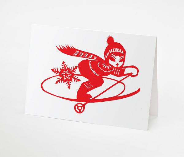Ski Girl Notecard | Red Type Ink
