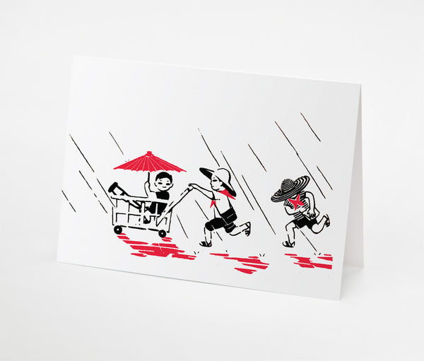 Playing in Rain Notecard | Red Type Ink