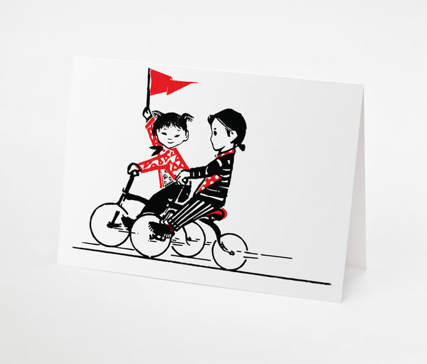 Red Flag and Bikes Notecard | Red Type Ink