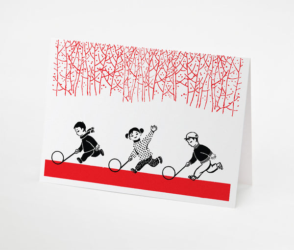 Hoop Trio Notecard | Red Type Ink