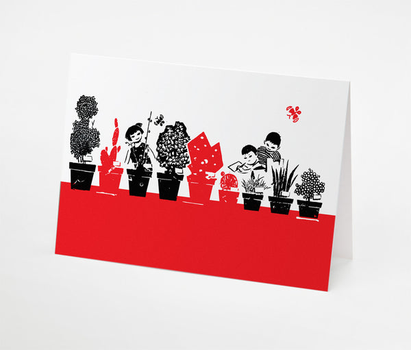 Garden Kids Notecard | Red Type Ink