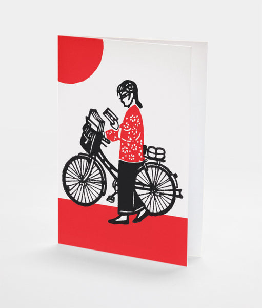 Bike Reader Notecard | Red Type Ink