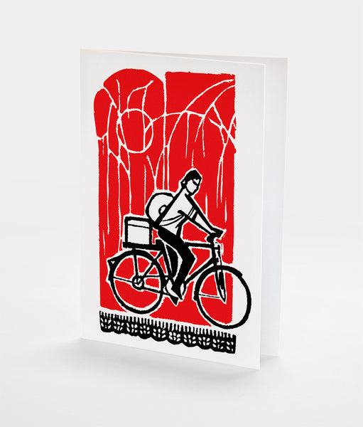 Bamboo Bike Notecard | Red Type Ink
