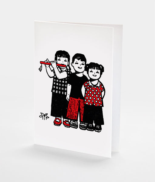Friends and Flute Notecard | Red Type Ink