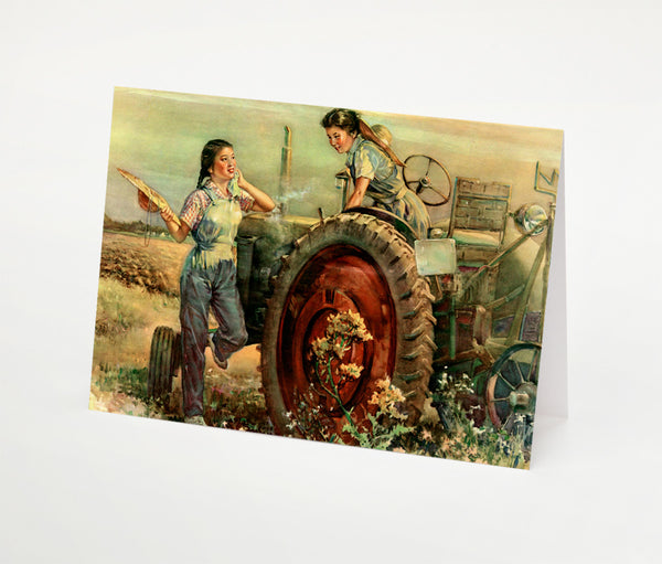 Women and Tractor Notecard | Red Type Ink