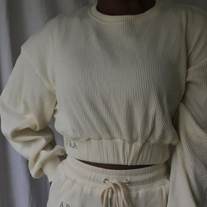 Ribbed cropped sweatshirt - Buttercream-