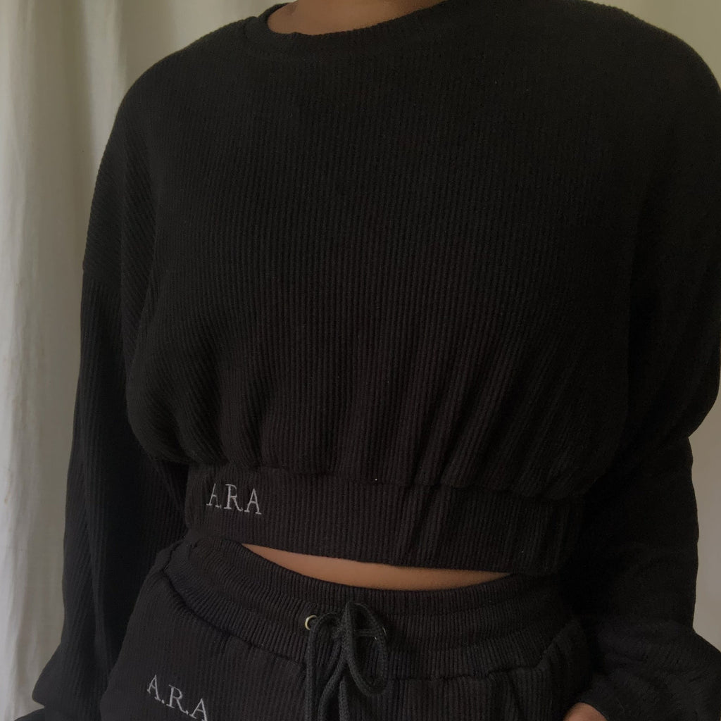 Ribbed cropped sweatshirt - Onyx- Preorder
