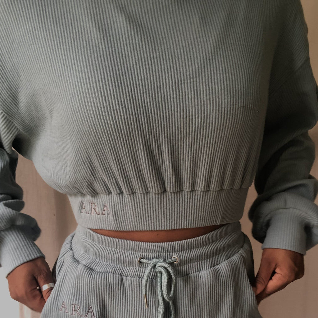 Ribbed cropped sweatshirt - Aegen Teal - Preorder