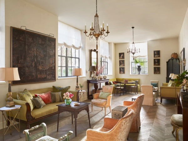 Amelia Handegan designed this beautiful living room near Charleston