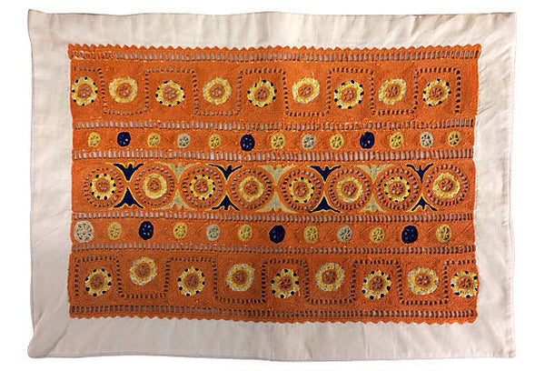 Pandora de Balthazár orange and blue primitive geometric decorative pillow cover.