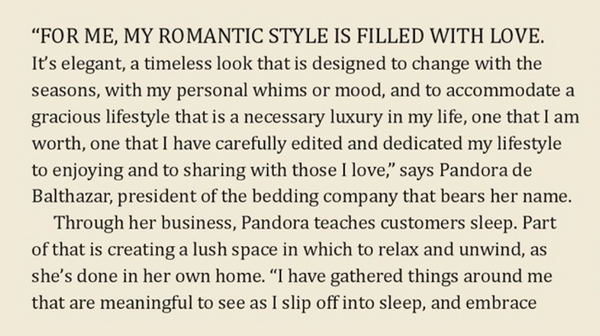 Pandora de Balthazar Interviewed in Romantic Home