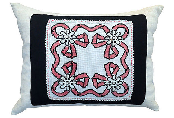 Antique decorative pillow cover with a ribbon embroidery motif.