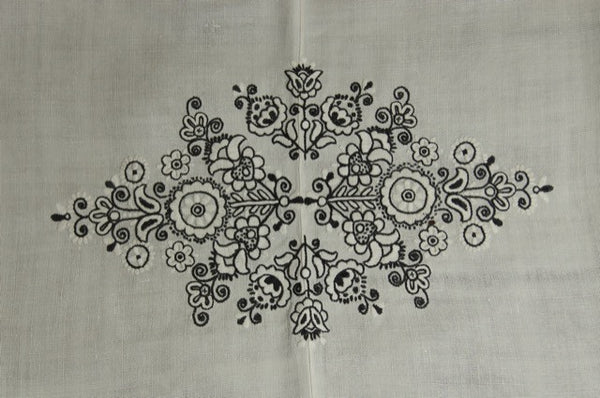 Black White Floral Embroidered Antique Tablecloth Detail