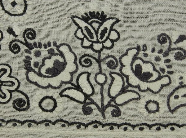 Black White Floral Embroidered Antique Tablecloth Motif