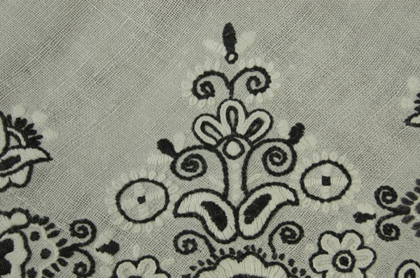 Black White Floral Embroidered Antique Tablecloth Pandora de Balthazar