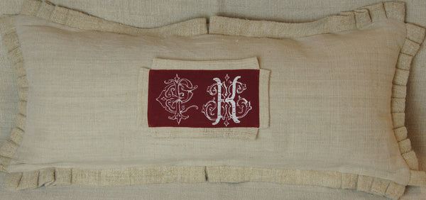 Linen Lumbar Pillow Cover with Embroidered CK Initials