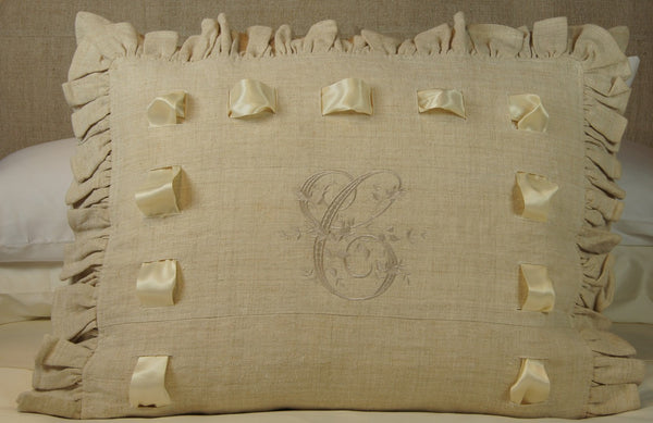 "Ruffled Antique Hand-loomed Linen Sham with ""C"" Monogram"
