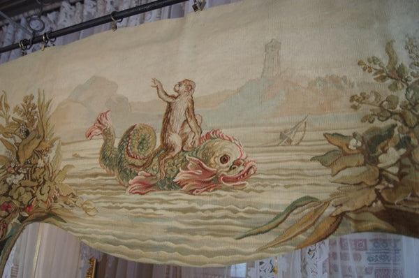 French Aubusson Lambrequins Dolphin