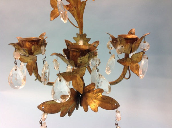 Oak Leaf and Ivy Sconce with Crystals