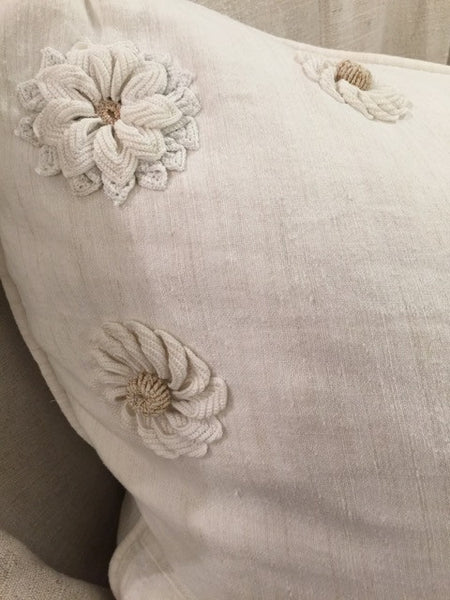 Hand-Loomed Linen Sham with Popcorn Embellishments