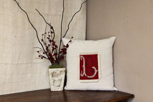 Antique Red Embroidered LS Linen Pillow Cover