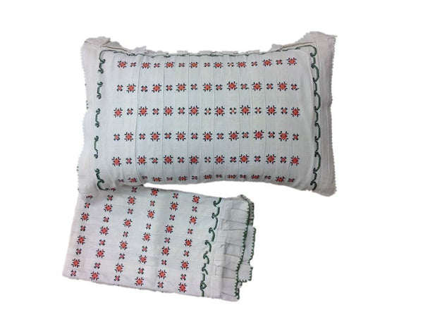 Floral Embroidered Linen Pillow Covers, Pair