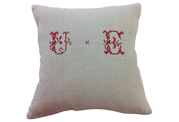 Antique Feedsack Pillow Cover with UE Monogram