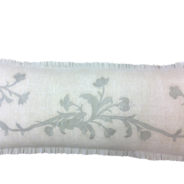 Antique Embroidered Hand-Loomed Linen Bolster
